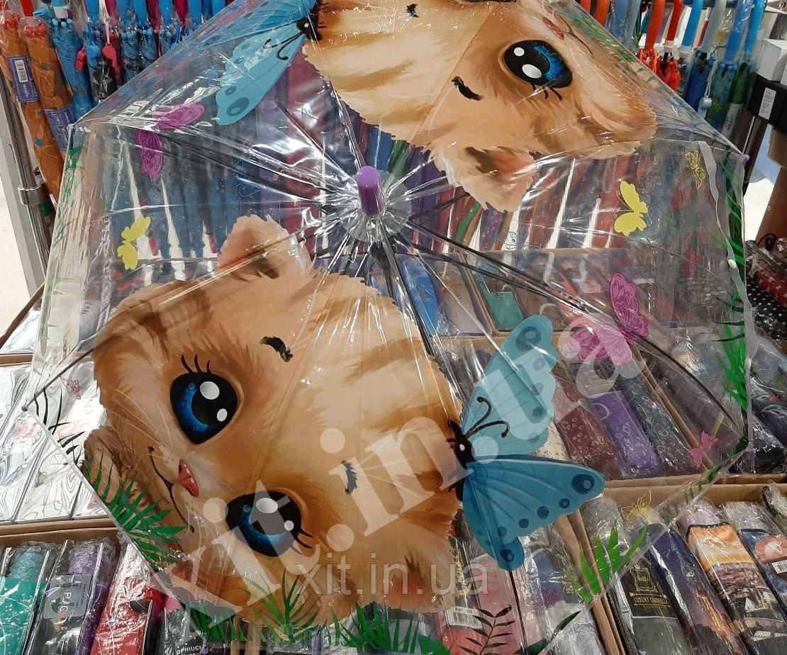 Зонт прозрачный для детей Котик