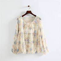 Нежная шифоновая блузка цветочный принт, фото 1