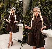 Платье женское из вельвета (3 цвета) ТК/-6044 - Коричневый, фото 1