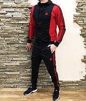 Мужской спортивный костюм черный с красным Adidas, комплект спортивный Адидас