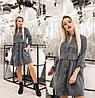 Платье женское из вельвета (3 цвета) ТК/-6044 - Серый