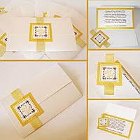Свадебная пригласительная для свадьбы в золоте с логотипами молодоженов, фото 1