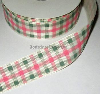 Лента репсовая розово-серая Клетка