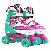 Роликовые коньки (квады) SportVida SV-LG0039 Size 31-34 Pink/Green, фото 1