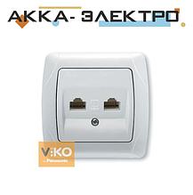 Розетка комп'ютерна 2-а RJ-45 біла ViKO Carmen 90561034