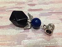 """Кулон из натурального камня синий авантюрин """"ночи Каира"""" """"Магический Ангел"""", 4,5 см."""