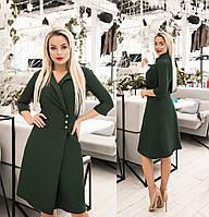 Платье женское с имитацией запаха (3 цвета) ТК/-4052 - Темно-зеленый, фото 1