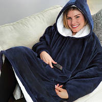 Плед Huggle с капюшоном Ultra Plush Blanket Hoodie Синий