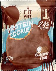 Протеиновое печенье в шоколадной глазури Fit Kit  Кокосовый Флан (50 грамм)