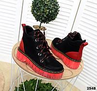Замшевые спортивные ботинки  36-41 р чёрный+красный, фото 1