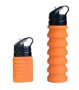 Складная силиконовая бутылка 989 оранжевая