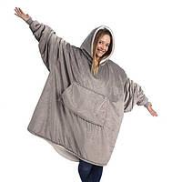 Плед Huggle с капюшоном Ultra Plush Blanket Hoodie Серый