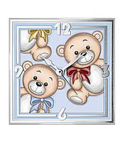 """Годинник скляний в дитячу кімнату """"Teddy Bear"""" (13х13см) 12647 C"""