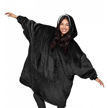 Плед Huggle с капюшоном Ultra Plush Blanket Hoodie Черный