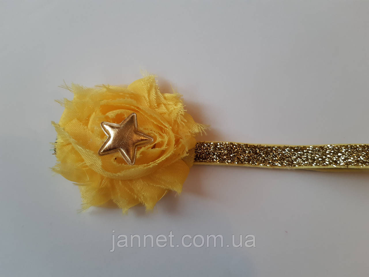 Повязка детская с блестками желтая - размер универсальный (на резинке), цветочек 6см