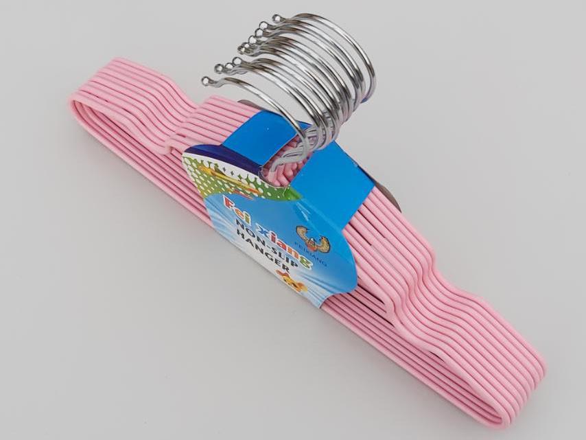 Плечики детские  металл в силиконовом покрытии нежно-розового цвета, длина 30 см, в упаковке 10 штук