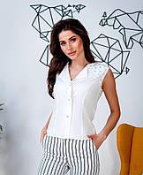 Стильный женский костюм блуза-майка на пуговицах украшена камнями +брюки в полоску с карманами(42-46), фото 1
