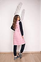 Жилетка жіноча з плащової тканини з синтепухом, з кишенями на гудзиках на поясі розовй