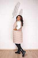 Женская жилетка из плащевки с синтепухом, с карманами,на пуговицах на поясе бежевый