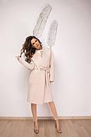 Женский элегантный кардиган из шерсти со съемным поясом и карманами, фото 1