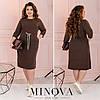 Сукня жіноча з трикотажу з куліскою по талії (4 кольори) EE/-8623 - Мокко