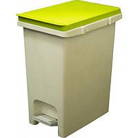 Прямоугольное, пластиковое ведро с педалью 10 л. зелен. крышка Arino 34243