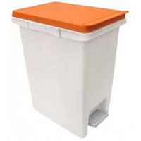 Прямоугольное, пластиковое ведро с педалью 10л. оранжевая крышка Arino 34242