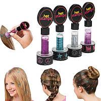 Краска для нанесения узоров на волосы Hot Stamps 4 цвета 4 узора  Хот Штамп, татуировка для волос, штампы