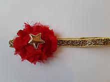Повязка детская с блестками красная - размер универсальный (на резинке), цветочек 6см