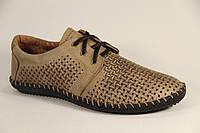Туфли мужские летние из натуральной кожи бежевого цвета на шнуровке Sart 606 ол