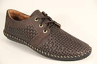 Туфли мужские летние из натуральной кожи коричневого цвета на шнуровке Sart 606 к