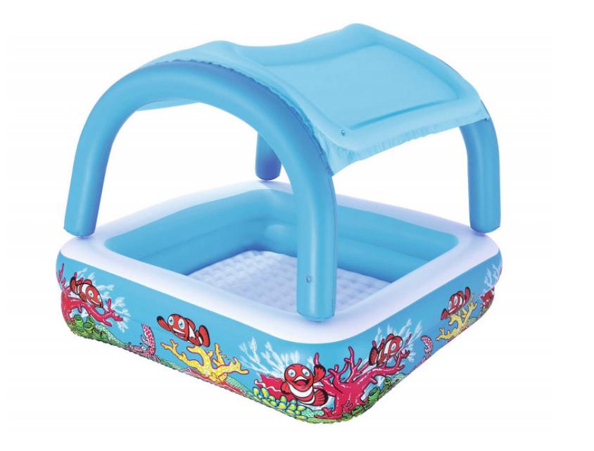 Детский надувной бассейн Bestway 52192 147 х 147 х 122 см Голубой с навесом