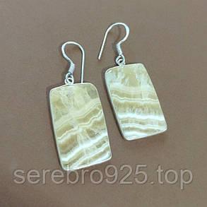 Серьги с натуральным камнем агат в серебре, фото 2