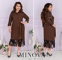 Платье женское миди (4 цвета) ЕЕ/-8625 - Мокко, фото 1