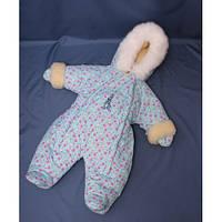 Бесплатная доставка!  Зимний комбинезон для новорожденных (0-6 месяцев) бирюзовый в сердечко