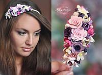 """""""Цветочный рай"""" обруч для волос с цветами из полимерной глины"""