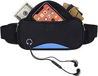 Спортивная сумка на пояс для смартфона Bolsa влагозащитная черно-синяя, фото 1