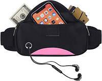 Спортивная сумка на пояс для смартфона Bolsa влагозащитная черно-розовая, фото 1