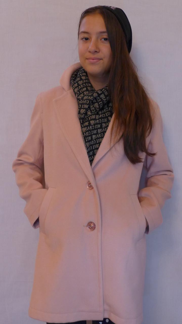 """Кашемировое пальто""""Европейка"""",пудра"""