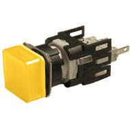 Арматура сигнальная 16мм квадратная жёлтая LED 24V AC/DC