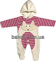 Детский тёплый человечек с начёсом рост 56 0-2 мес махра розовый на девочку слип с капюшоном для новорожденных малышей Р117