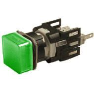Арматура сигнальная 16мм квадратная зелёная LED 24V AC/DC