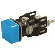 Арматура сигнальная 16мм квадратная синяя LED 24V AC/DC