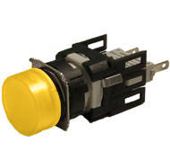 Арматура сигнальная 16мм круглая жёлтая LED 24V AC/DC