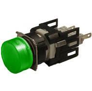 Арматура сигнальная 16мм круглая зелёная LED 24V AC/DC