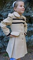 """Кашемировое пальто""""Бархатный бантик"""",бежевый песок, фото 1"""