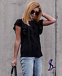 Блузка жіноча з коротким рукавом, чорна, фрез, 42-44, 46-48, фото 3