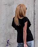 Блузка жіноча з коротким рукавом, чорна, фрез, 42-44, 46-48, фото 4
