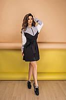 Стильное женское спортивное платье с капюшоном из крепта, на молнии+пояс  (42-58) черно-серое