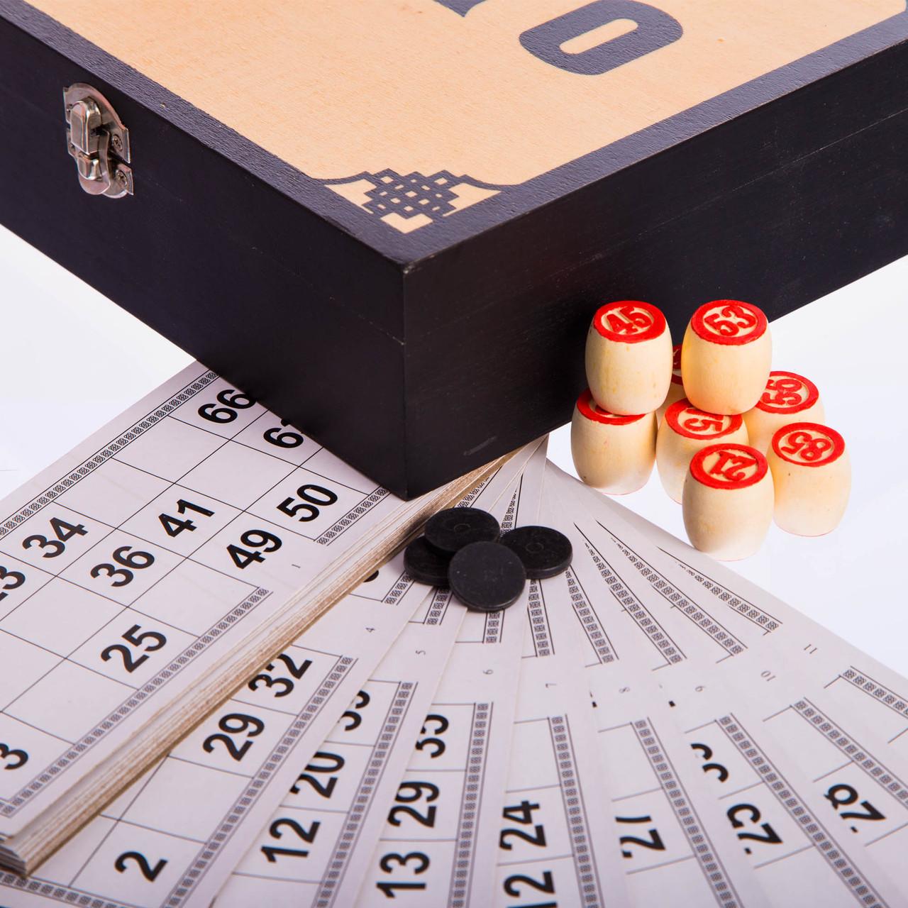 Лото настольная игра в деревянной коробке (90 дер.боч.,48 карт,40 фиш,р-р 24x22x6,5см)